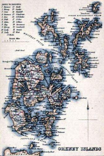 1861_ORKNEY_ISLANDS_Civil_Parish_map